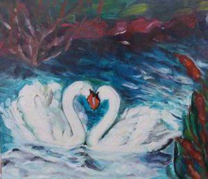 Pictură de Olimpia Mureșan din Satulung, continuatoarea școlii de pictură naivă, deschizător de drum fiind Ioan Buciuman Spiridon