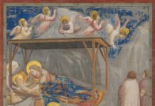 Naşterea lui Isus, frescă de Giotto di Bondone, se găseşte în biserica Scrovegni din Padova, Italia