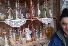 Pavel Hereș și colecția sa de sticle cu cruci