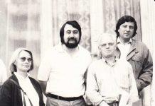 Doamna Louise Bayo, Horia Bădescu, poetul Gerard Bayo şi Gheorghe Pârja, la redacţia Graiul Maramureşului