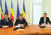 Col. Ioan Ioniţă Sîrb (prim-adjunct), col. Pavel Baltaru (inspector-şef) şi prefectul Vasile Moldovan